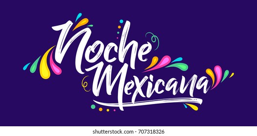 Noche mexicana, Mexican night spanish text, banner vector celebration