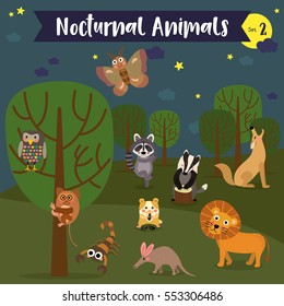Nocturnal Animals cartoon with forest background. Set 2.