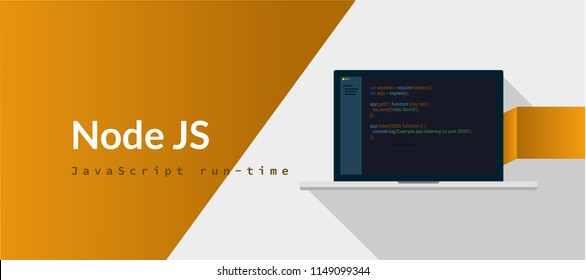 Node JS Javascript run-time programming language with script code on laptop screen, programming language code illustration