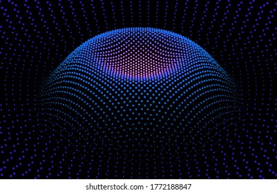 Node surface sea dot wave glowing stream. Drip drop data information. Statistic flow from dynamic particles. Chain of nodes. Colorful lights of intersections sparkles.