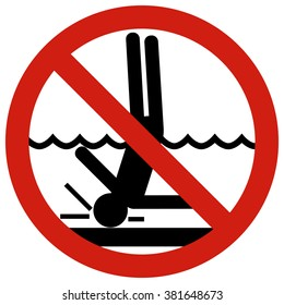 No!Diving in shallow end. Posters restraining type regulating safe behavior on the water.