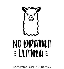 Nodrama Llama vector quote with hand drawn llama. Llama motivational and inspirational quote. Simple cool white llama head drawing, hand drawn vector illustration