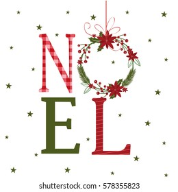 Noel design with christmas wreath
