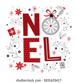 Noel letter with red and white colored, vector illustration