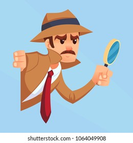 Noir detective with magnifying glass peeking out the corner cartoon flat design vector illustration eps10