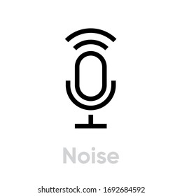 Noise Microphone icon. Editable Vector Outline. Trendy flat sound sign isolated on white background for web and mobile graphic design, logo. Single Pictogram.