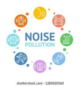 Noise Pollution Concept Card Round Design Include of Airplane, Car, Alarm, Speaker or Megaphone, Honk and Building. Vector illustration