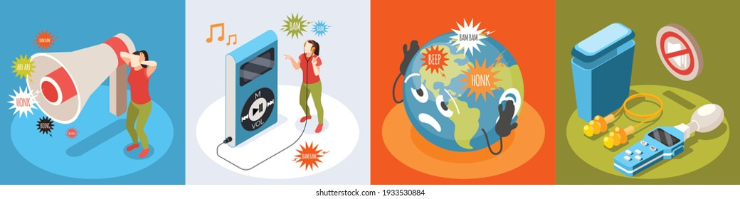 Noise pollution isometric set isolated vector illustration