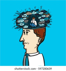 noise of thoughts and voices in our brain - conceptual vector illustration of congested mind