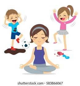 Noisy children playing and mother relaxing doing yoga