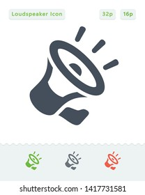 Noisy Loudspeaker - Sticker Icons. A professional, pixel aligned icon.