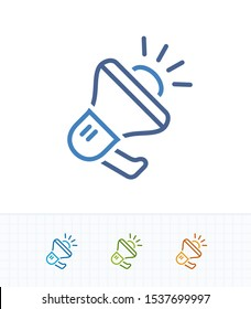 Noisy Megaphone - Contrast Dash Icons. A professional, pixel-aligned icon.