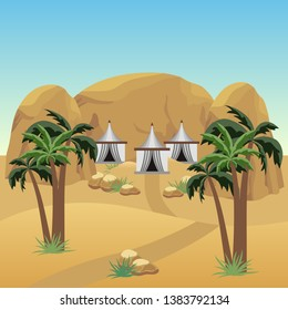 Nomad camp in desert. Landscape for cartoon or adventure game asset. Bedouins tents,  sand dunes, palms, rocks. Vector illustration
