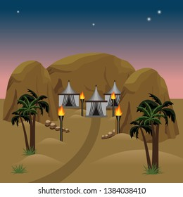 Nomad camp in desert.  Night in desert, nomad tents, sands and palms. Nomad camp in desert. Night in desert, nomad tents, sands and palms. For cartoon or game asset. Vector illustration for cartoon or
