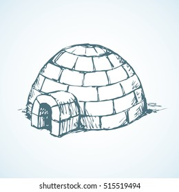 Nomad rural circle cubes brick corps cabin isolated on white backdrop. Freehand outline blue ink hand drawn picture sign sketchy in art retro scribble graphic style pen on paper and space for text