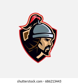 Nomad steppe medieval warrior head illustration. Logo mark in badge shape.