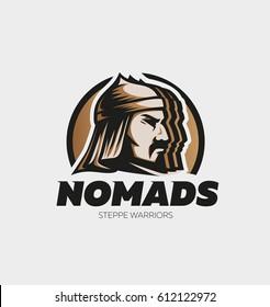 nomad steppe warrior sports logo mascot badge