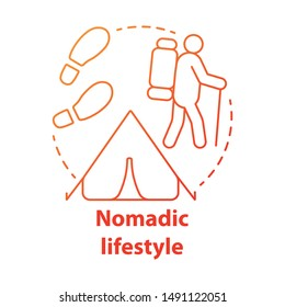 Nomadic lifestyle red concept icon. Moving from place to place idea thin line illustration. Human migration, living with no permanent residence. Vector isolated outline drawing. Editable stroke