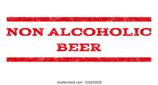 Non Alcoholic Beer watermark stamp. Text caption between horizontal parallel lines with grunge design style. Rubber seal red stamp with unclean texture. Vector ink imprint on a white background.