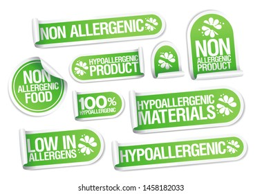 Non allergenic products and hypoallergenic materials stickers set, safe products packing symbols