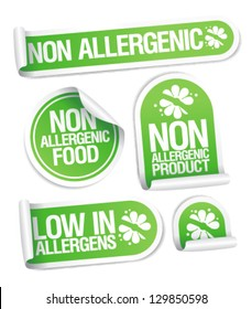 Non allergenic products stickers set.