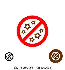 Non allergic sign logo. Stop allergy symbol.