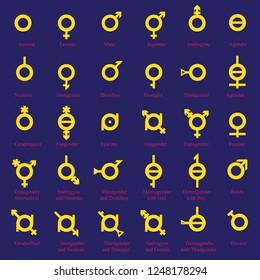 Non binary gender symbol. Gender . Bisexual, female, gay, hetero, intersex, lesbian, male, non-binary, transgender, homosexual, transsexual, asexual symbol genderfluid.
