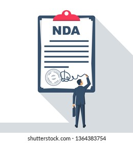 Non disclosure Agreement document with signature and stamp. NDA concept. Businessman signs a privacy document. Vector illustration flat design.