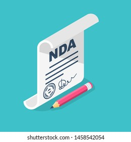 Non Disclosure Agreement document with signature and stamp. NDA concept. Privacy document. Vector illustration isometric 3d icon. Cartoon design.