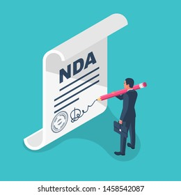 Non disclosure Agreement document with signature and stamp. NDA concept. Businessman signs a privacy document. Vector illustration isometric design.