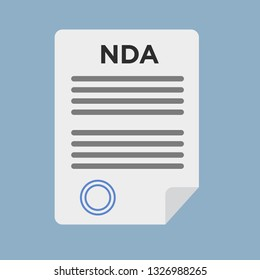 Non Disclosure Agreement document with stamp. NDA. Stock vector illustration