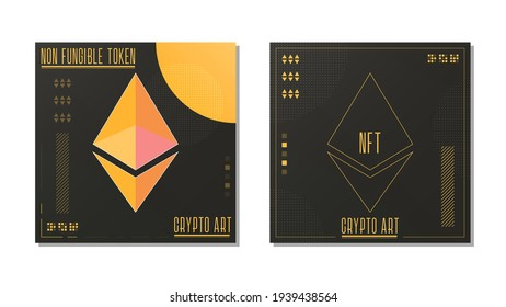 Non fungible token vector concept. Future of collectibles, crypto art and digital assets. Colorful icon with thin line design.