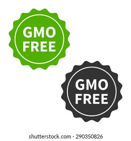 Non GMO free food packaging seal or sticker flat vector icon