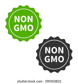 Non GMO free food packaging seal or sticker flat icon