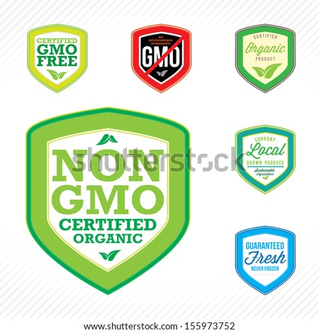 Non Gmo Gmo Free Labels Logos Stock Vector Royalty Free 155973752