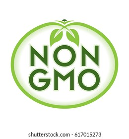 Non GMO Icon Vector Illustration Graphic Oval Symbol Typographic