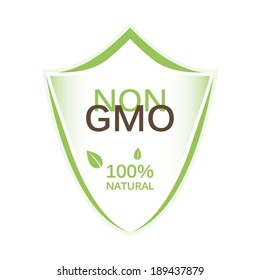 Non gmo shield icon with organic elements and leaf icons concept design sign isolated on white background art