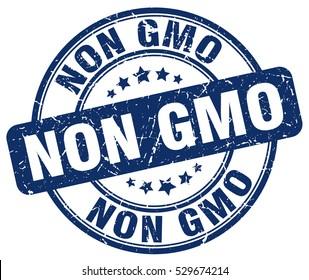 non gmo. stamp. blue round grunge vintage non gmo sign