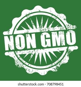 non gmo white grunge stamp isolated on green background