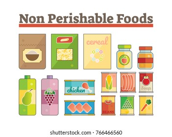 Non perishable food icons flat vector set