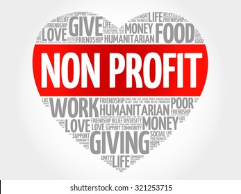 Non Profit word cloud, heart concept