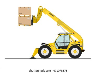 Non rotating telehandler with outriggers on a white background. Flat vector