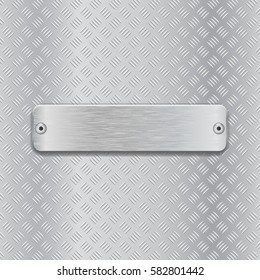 Non slip metallic surface with brushed plate. Vector 3d illustration.