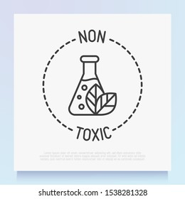 Non toxic symbol. Thin line icon for organic product. Modern vector illustration.