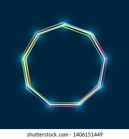 Nonagon frame with colorful multi-layered outline and glowing light effect on blue background