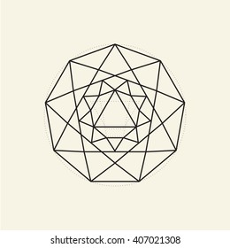Nonagon. Minimal abstract symbol. Sacred geometry. Light yellow background. Stock vector.
