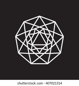 Nonagon. Minimal abstract symbol. Sacred geometry. Black background. Stock vector.