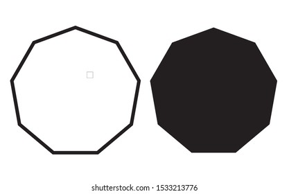 nonagon shapes with outlines and fill colors, fields for logos or symbols, math teaching pictures.