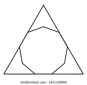 The Nonagon showing inscribed in a triangle. Nonagon touches the three sides of the triangle, vintage line drawing or engraving illustration.