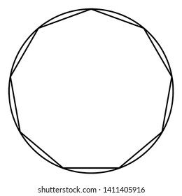 A Nonagon within a circle, the six sides of the hexagon are all equal to the radius of that circle, vintage line drawing or engraving illustration.